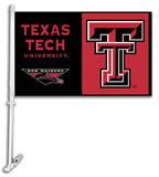NCAA Texas Tech Red Raiders Car Flag with Wall Bracket Flag