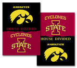 NCAA Iowa - Iowa State 2-Sided House Divided Rivalry Banner Flag