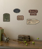 Laundry Signs On Weathered Wood Planks Accent Wall Decal Wallpaper Mural