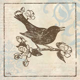 Bird Woodcut I Print by Elizabeth Medley
