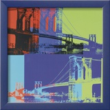 Brooklyn Bridge, c.1983 (orange, blue, lime) Poster van Warhol Andy