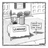 A girl is seen sitting at a lemonade stand next to a house with a sign ind… - New Yorker Cartoon Reproduction giclée Premium par Matthew Diffee