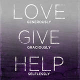 Love, Give, Help (purple) Affiches