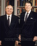 Mikhail Gorbachev & Ronald Reagan in the White House Library, 1987 Photo