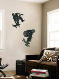 Skate Boarders In Action With Graphic Style Coloring (Black and Grey) Huge Mural Art Print Poster Mural