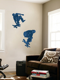 Skate Boarders In Action With Graphic Style Coloring (Blue) Huge Mural Art Print Poster Mural