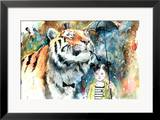 Mr Tiger Framed Giclee Print by Lora Zombie