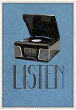 Listen Retro Record Player Art Poster Print - Reprodüksiyon