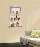 Rose Hip Swag Trompe DOiel Window Accent Wall Decal Wallpaper Mural