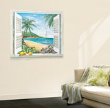 Trompe L'Oiel Tropical Paradise Window Accent Huge Mural Art Print Poster Wall Mural