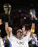 Kobe Bryant with 2010 MVP & NBA Finals Trophies Courtside (25) Photo