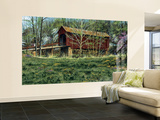 Rustic Covered Bridge Surrounded By The First Buds Of Spring Huge Mural Art Print Poster Wall Mural