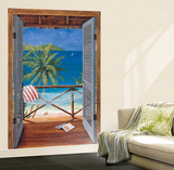 Trompe L'Oiel Tropical Doors Wall Accent Huge Mural Art Print Poster Wall Mural