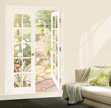 French Doors Into Garden Huge Mural Art Print Poster Wall Mural