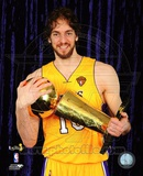 Pau Gasol with 2010 NBA Finals Trophy in Studio (30) Photo