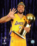 Derek Fisher with Championship Trophy in Studio (28) Photo