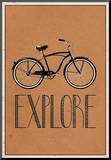 Explore Retro Bicycle Player Art Poster Print Mounted Print