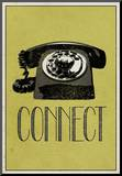 Connect Retro Telephone Player Art Poster Print Opspændt tryk