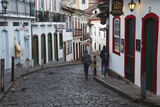 People Walking Along Street, Ouro Preto, UNESCO World Heritage Site, Minas Gerais, Brazil Photographic Print by Ian Trower