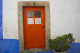 Door in the Walled Medieval Town, Declared National Monument, Obidos, Estremadura, Portugal, Europe Photographic Print by Peter Groenendijk