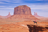 Lone Horse Rider at John Fords Point, Merrick Butte, Monument Valley Navajo Tribal Pk, Arizona, USA Lámina fotográfica por Neale Clark