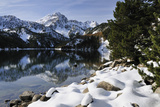 St. Maurici Lake and Snowy Peaks of Aigues Tortes Nat'l Park in Winter, Pyrenees, Catalonia, Spain Photographic Print by Nick Upton