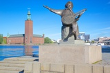 The City Hall and Evert Taube Statue, Kungsholmen, Stockholm, Sweden, Scandinavia, Europe Photographic Print by Frank Fell