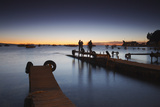 People Standing on Pier at Sunset, Copacabana, Lake Titicaca, Bolivia, South America Photographic Print by Ian Trower