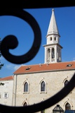 Church Belltower Viewed Through Wrought Iron Railings of the Old Town, Bidva, Montenegro, Europe Photographic Print by Frank Fell