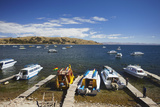 Boats Moored in Bay, Copacabana, Lake Titicaca, Bolivia, South America Photographic Print by Ian Trower