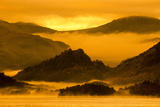 Misty Sunrise over Derwentwater, Borrowdale Valley, Lake District Nat'l Pk, Cumbria, England, UK Photographic Print by Ian Egner