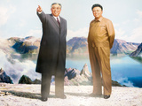 Painting of Kim Jong Il and Kim Il Sung, Pyongyang, Democratic People's Republic of Korea, N. Korea Photographie par Gavin Hellier