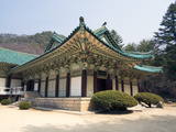Pohyon Buddhist Temple, (Pohyon-Sa), Myohyangsan, Democratic People's Republic of Korea, N. Korea Photographic Print by Gavin Hellier