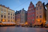Stortorget Square Cafes at Dusk, Gamla Stan, Stockholm, Sweden, Scandinavia, Europe Fotografisk tryk af Frank Fell