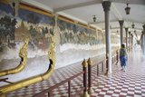 Woman Looking at Murals at Silver Pagoda in Royal Palace, Phnom Penh, Cambodia, Indochina Photographic Print by Ian Trower
