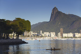 Christ the Redeemer Statue Atop Corvocado and Botafogo Bay, Rio de Janeiro, Brazil, South America Photographic Print by Ian Trower