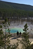 Visitors at Cistern Spring, Norris Geyser Basin, Yellowstone UNESCO Site, Wyoming, USA Photographic Print by Peter Barritt