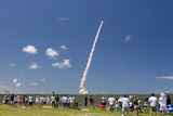 Crowds Watch Launch of Space Shuttle Discovery, July 4, 2006, Cape Canaveral, Florida, USA Photographic Print by Nick Servian