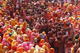 Holi Celebration in Dauji Temple, Dauji, Uttar Pradesh, India, Asia Photographie par  Godong