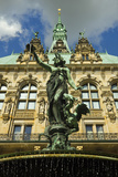 Neo-Renaissance Statue in a Fountain at the Hamburg Rathaus (City Hall), Hamburg, Germany Photographic Print by Rob Francis