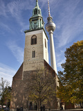 Tower of St. Mary's Church Set Against Berlin's TV Tower, Berlin, Germany, Europe Photographic Print by Matthew Frost