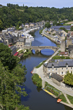 Rance River Valley and Dinan Harbour with the Stone Bridge, Dinan, Brittany, France, Europe Photographic Print by Guy Thouvenin