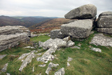 Granite Boulders on Tor Overlooking Dart Valley, Dartmoor Nat'l Pk, Devon, England, UK Photographic Print by David Lomax