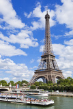Bateaux Mouches Tour Boat on River Seine Passing the Eiffel Tower, Paris, France, Europe Photographic Print by Neale Clark