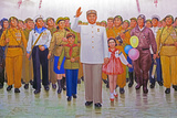 Wall Mural of Kim Il Sung, Pyongyang, Democratic People's Republic of Korea, N. Korea Photographic Print by Gavin Hellier