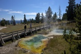 Tourists Looking at Seismograph and Bluebell Pools, Yellowstone Nat'l Pk, UNESCO Site, USA Photographic Print by Peter Barritt