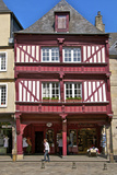 Shops and Red Half Timbered House, Cordeliers Square, Dinan, Brittany, France, Europe Photographic Print by Guy Thouvenin