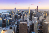 View of Chicago Skyline and Suburbs Looking South in Late Afternoon, Chicago, Illinois, USA Photographic Print by Amanda Hall