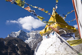 Prayer Flags and Buddhist Stupa, Namche Bazaar, Solu Khumbu Region, Nepal, Himalayas, Asia Photographic Print by Ben Pipe