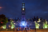 City Hall and Garden of Light Display in Centenary Square, Bradford, West Yorkshire, England, UK Photographic Print by Mark Sunderland